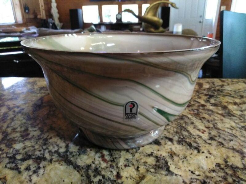 Pilgrim Glass Bowl Hand Made Green & Brown Swirls