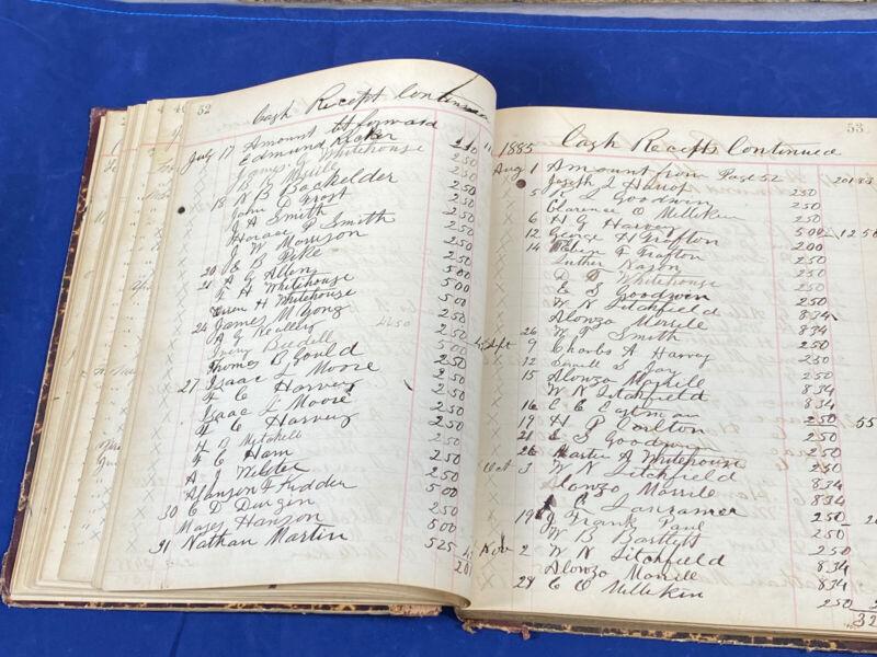1881-1888 Cash Receipt Ledge ~ I.O.O.F.  South Berwick, Maine ~ 107 Pgs w/ Info