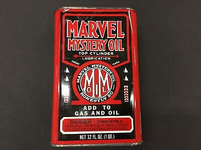 Vintage 1 Quart Marvel Mystery Oil Can FULL