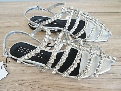 ZARA SPECIAL EDITION SILVER FLAT BEJEWELLED CAGED SANDALS SIZE UK 6 (6.5) for sale  Shipping to Nigeria