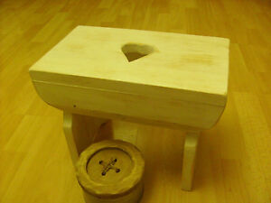 Wooden Milking stool, Hand-crafted, Shabby Chic, Heart, Country, Rustic