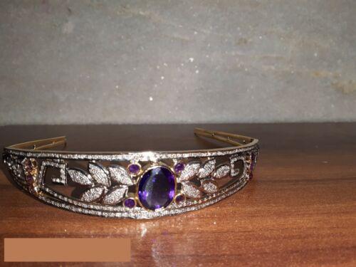 Victorian 9.10 Ctw Rose Cut Diamond & Amethyst 925 Sterling Silver Weeding Tiara