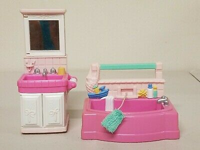 Fisher Price Loving Family Dollhouse Bathroom Furniture- Pink Sink & Tub