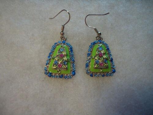 Vintage/nos mix color floral rhinestone enamel earrings