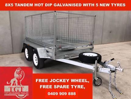 8X5 Tandem Hot Dip Galvanised Trailer, 5 Brand New Tyres & Rims