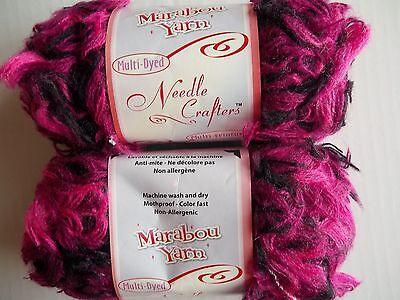 (Needle Crafters Marabou long eyelash yarn, purple/fuchsia, lot of 2)
