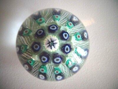 "STRATHEARN Glass Millefiori Latticino RADIAL SPOKES Paperweight Cartwheel 2.20"""