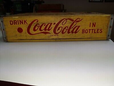 Vintage Yellow Wood Coca-Cola Crate 24 Pack Bottle Chattanooga