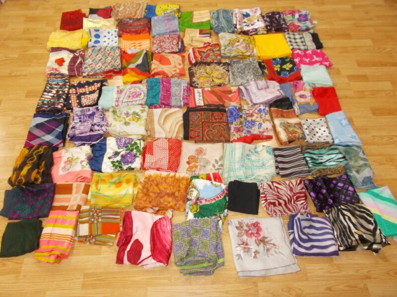 Vtg Antique CUTTER LOT of 73 Square Long SILK Fabric Scarf VERA ECHO LIBERTY etc