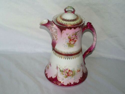 ANTIQUE HAND PAINTED PORCELAIN CHOCOLATE COFFEE POT