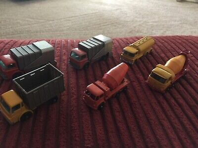 VINTAGE MATCHBOX LESNEY - Lot of 6 - Cement Refuse Tanker Cattle Trucks