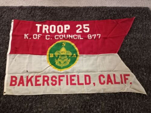 Vintage Boy Scout Flag Bakersfield California Knights of Columbus Council 877