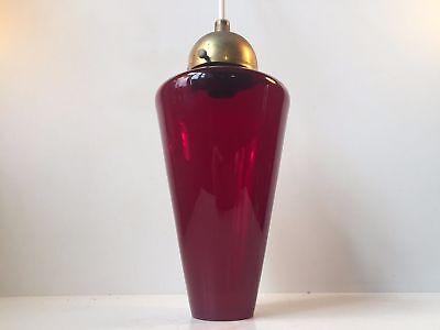 Rare Danish Modern Red Glass & brass Pendant Lamp by Holmegaard Louis Poulsen ea