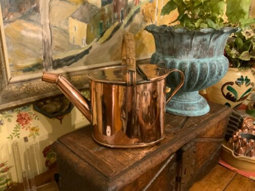 English Antique Victorian Copper Watering Can Circa 1890