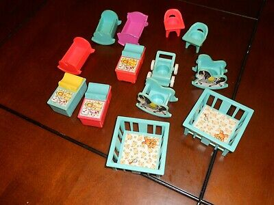 VINTAGE 1970s Fisher Price Little People NURSERY LOT Cribs Changing Table Cribs