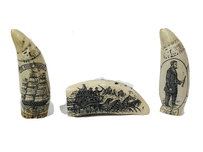 Scrimshaw Whale Tooth Lincoln Southern Star Ship Roman US Mail Coach Replicas
