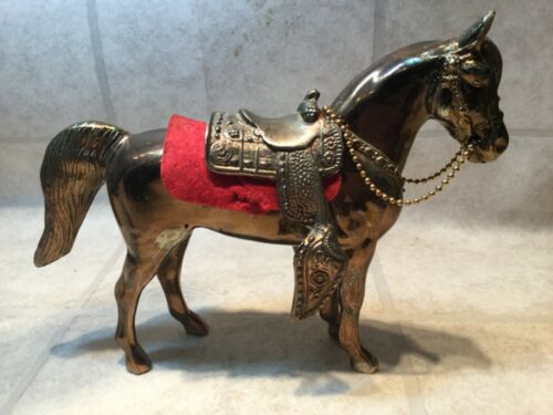 "Carnival Horse, Solid Metal, Chrome Plated With Removable Saddle, 8""Tall"