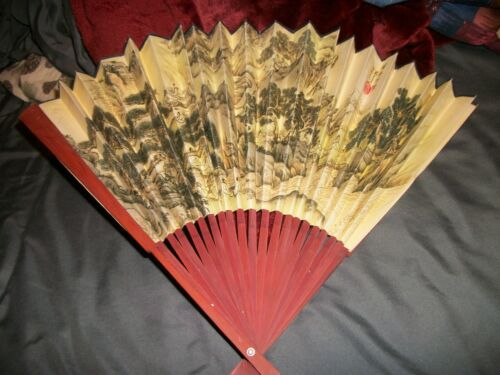 """Vintage Folding Hand Fan Handpainted Paper Bamboo Oriental Chinese 13"""" x 21"""""""