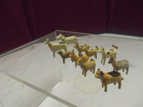 🎅  Ten (10) Vintage Erzgebirge DOGS - Figures - Putz Animals 🎄