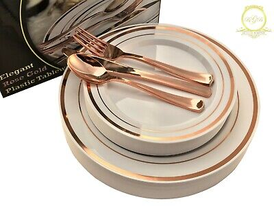 *On SALE* ROSE GOLD Plastic Disposable Plates Silverware 26 guests 130 Pcs - Pink Plastic Plates
