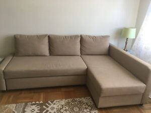 Corner sofa bed with storage Ikea - Skiftebo beige Friheten