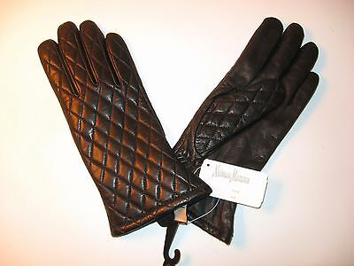 New Niemen Marcus Women's Black Leather Cashmere Lined Driving Gloves - Size S
