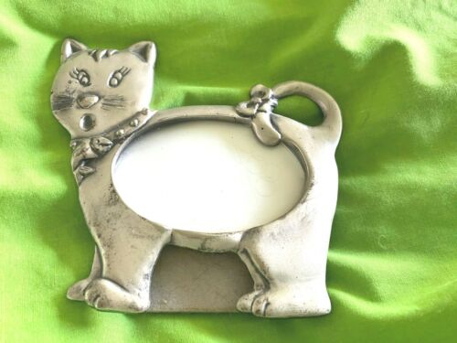 Cat picture frame, pewter Linco 1997