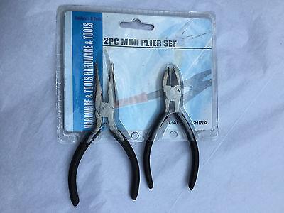 """Nose Pliers Set 4 Piece - 2 Piece Mini Pliers Set - 5"""" Long Nose & 4 1/2"""