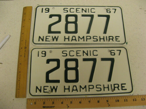 1967 67 NEW HAMPSHIRE NH LICENSE PLATE PAIR SET # 2877
