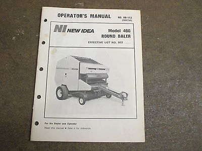 New Idea 486 Round Baler Owners Maintenance Manual