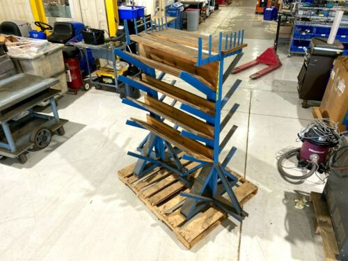 """Double Sided Angle 10 Slot Lumber Pipe Material Steel Rack 63-1/2"""" Long 64"""" High"""