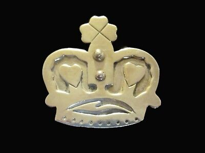 Vintage Made in Mexico Sterling Silver Heart Crown Brooch Pin 16.9g