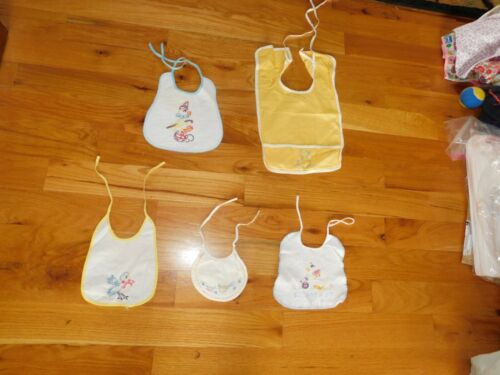 Ducks and Blue Bird Baby Bibs Lot Vintage Hand Embroidered