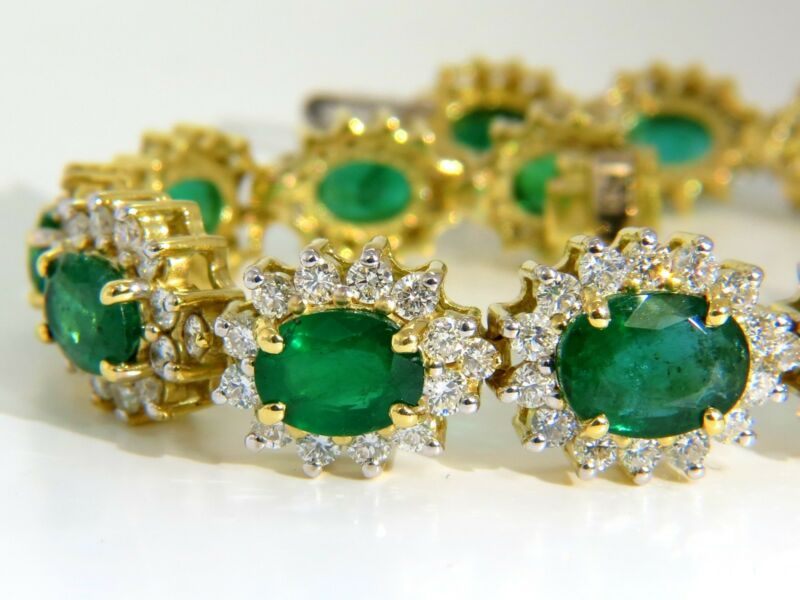 $40000 22.50ct Natural Emeralds Diamonds Bracelet 18kt G/vs Zambian Vivid
