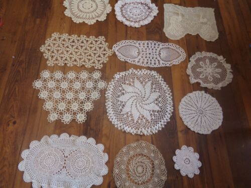 MIXED LOT  OF 12  ASSORTED  CROCHET DOILIES