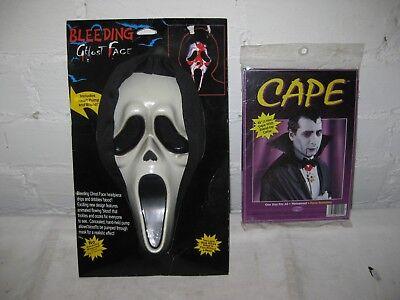 Maske Ghost Face Blutmaske Horror Halloween Maske mit Kunstblut + Umhang 2er Set