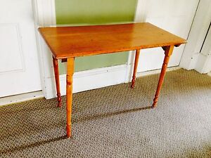 "Antique Solid Oak Folding Legged Table, 36"" x 18"". 25"" tall."