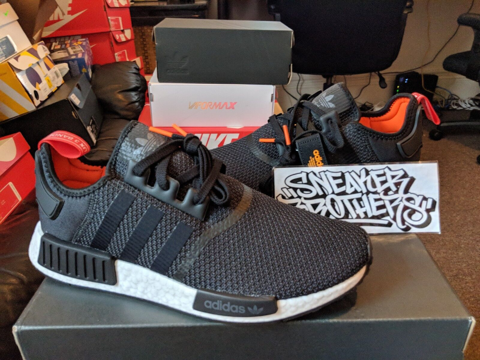 2218fcb744a39 Adidas NMD R1 Nomad Boost Core Black White Red Ora.. in Clothing ...