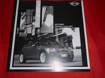 MINI Cabrio R52 One Cooper Cooper S Preisliste von August 2007