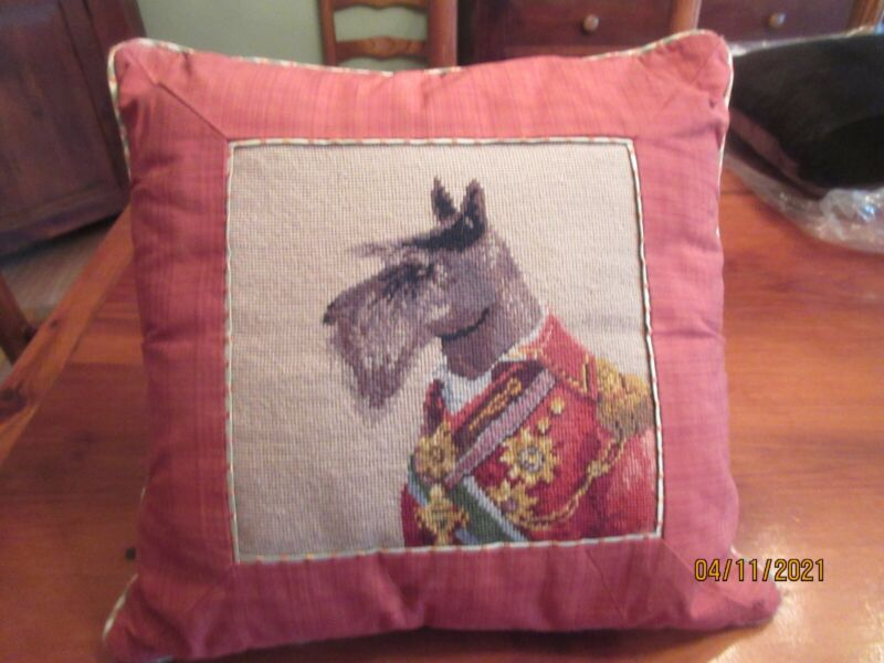 "DISTINQUISHED MILITARY DRESSED SCOTTY DOG NEEDLEPOINT 14"" X 13"" PILLOW"