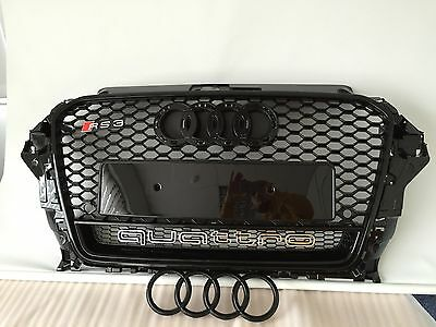2013 15 AUDI RS3 QUATTRO FRONT GRILLE GRILL ALL BLACK RS3 S3 A3 NEW GB99