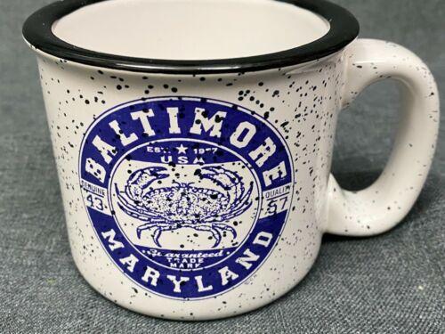 M Ware Baltimore Maryland Coffee Mug Blue White Speckle Crab Ceramic