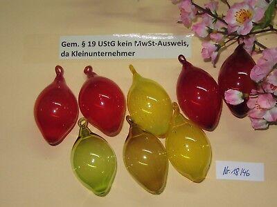 -8 bunte Ostereier Ø ca.4,5 cm  Deko - Eier / Glas-Eier mit Öse /  Nr. 18/46