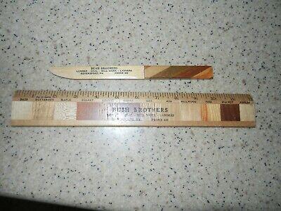 Vtg Bush Brothers Lumber Mill Work Royersford PA Wooden Ruler & Letter Opener