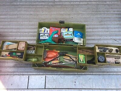 Vintage Fishing Tackle Box And Contents Joblot