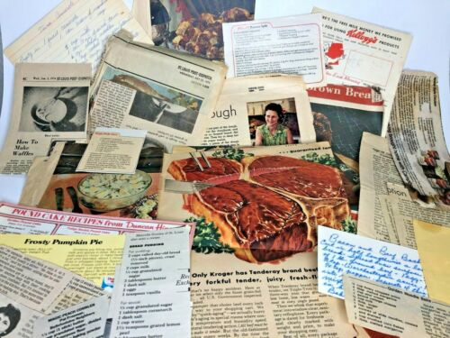 200+- Vintage Recipes - Newspaper Clippings+Handwritten+Typed in old Cigar Box