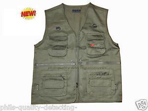 PQDA. Metal Detecting,Light Weight,Waterproof,Khaki Green Multi-Pocket Vest. NEW