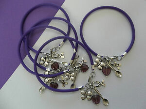 5 - LUPUS AND FIBROMYALGIA AWARENESS BRACELETS W/SPOON/BUTTERFLY/HOPE CHARMS