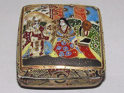 12C5 Antique Box Enamels Cloisonne Satsuma Japan Xixth / Antique Japanese Tin