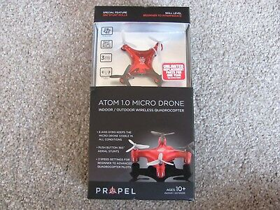 Propel RC Atom 1.0 Micro Drone Indoor/Outdoor Wireless Quadrocopter Red OD-2101